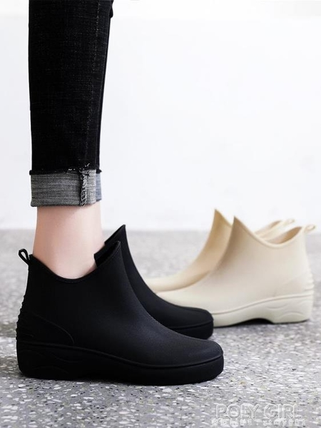 日系原宿雨鞋女時尚水鞋洗車膠鞋防水防滑廚房鞋套鞋厚底短筒雨靴 poly girl