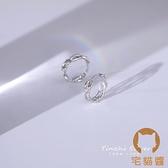 純銀耳扣耳環女小眾設計感耳釘耳圈耳飾【宅貓醬】