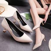 2019新款尖頭高跟單鞋米白色細跟女鞋婚鞋伴娘鞋新娘貓跟鞋35-40『潮流世家』