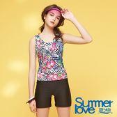 【Summer Love 夏之戀】加大碼連身印花四角泳衣(S18723)