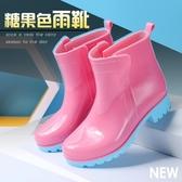 女款成人糖果色防潑水防滑馬丁雨鞋純色黑色學生加厚雨靴務農鞋