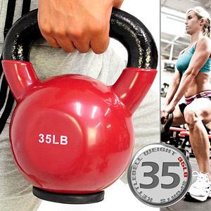 35LB壺鈴│KettleBell包膠35磅拉環啞鈴(實心鑄鐵+橡膠底座)15.8KG浸膠搖擺鈴.舉重量訓練.運動