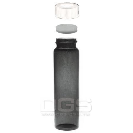 《Kimble/NATIONAL》茶色螺蓋樣本瓶 中孔白蓋 Vail, EPA Water Analysis, Screw Thread, Amber, Open-Top Closure