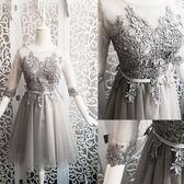 手工花邊短中袖短款禮服伴娘團禮服晚禮服姐妹裙