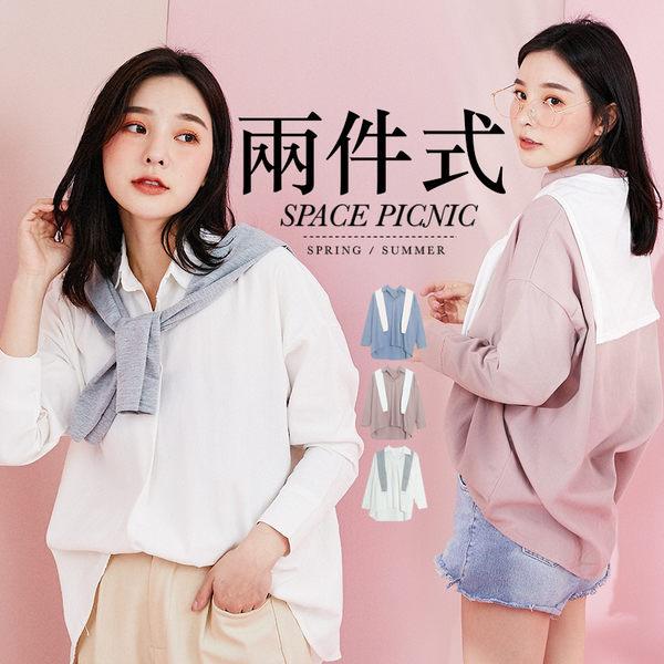 長袖 襯衫 Space Picnic 現+預.兩件式-素面披肩+單釦長袖襯衫【C19031011】