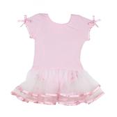 RuffleButts 蕾絲包屁紗裙短袖洋裝 粉色 | 女寶寶連衣裙(嬰幼兒/兒童/小孩)