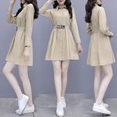 長袖洋裝 長袖襯衫連身裙女士秋裝2021年新款設計感小眾御姐氣質輕熟風裙子 小衣里大購物