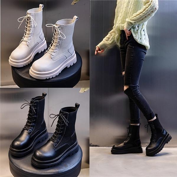 真皮靴子 女鞋 厚底馬丁靴 英倫風 皮革綁帶短靴 中筒靴 透氣耐磨 N8085.86◆OSOME奧森鞋業