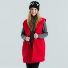 純棉洗水布料加上內保暖搖粒布及兩側釦帶配點連帽長版造型設計