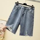 大碼闊腿牛仔短褲女微胖妹妹夏季寬鬆顯瘦中褲破洞直筒褲五分褲子 8號店