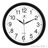 掛鐘客廳鐘表簡約創意圓形電子石英鐘家庭靜音辦公時鐘掛表 莫妮卡小屋 IGO