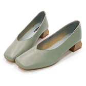 Hong Wa 時尚氣質‧牛皮V口粗低跟包鞋 - 藍綠