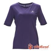 【wildland 荒野】女 彈性排汗圓領上衣『藍紫』0A71667 T恤 上衣 休閒 戶外 登山 抗紫外線 吸濕 排汗