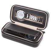 簡約2位拉鏈手表首飾收納包 PU便攜式旅行手表收納盒 名表收納包【快速出貨】