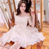 洋裝 一字領鉤花歐根紗馬甲短袖禮服洋裝-Ruby s 露比午茶