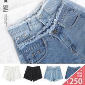短褲 仿舊抽鬚單釦牛仔短褲M~XL號-BAi白媽媽【160657】