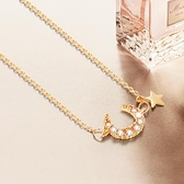 簡約項鍊氣質月亮星星鎖骨鍊女設計感飾品【倪醬小舖】