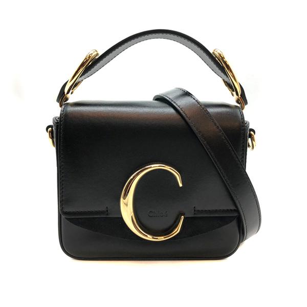 【台中米蘭站】全新品 CHLOE C Bag 滑面牛皮拚麂皮手提斜背二用包-mini (黑)