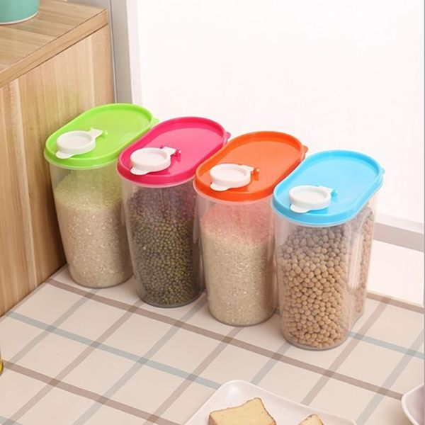 廚房塑膠密封罐日式雜糧儲物罐五穀收納盒存糧罐透明家用食品米罐 樂活生活館