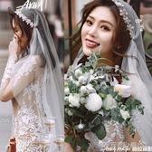 水鑚花朵蕾絲帽式新娘頭紗婚紗頭飾短頭紗旅拍森系超仙網紅拍照款 晴天時尚館