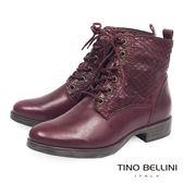 Tino Bellini巴西進口魚鱗紋綁帶短靴_ 酒紅 C69003 歐洲進口款