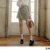 格紋側排釦後拉鍊短褲裙 OrangeBear《CA2472》