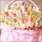 【QQ小熊軟糖+愛心棉花糖串X150支+大提籃X1個(限宅配)】-生日分享/幼稚園獎品/婚禮小物幸福朵朵