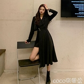 熱賣長袖連身裙 春秋季西裝連身裙2021新款性感氣質長裙長袖小黑裙收腰顯瘦裙子女 coco