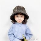 韓版兒童秋冬新款網紅金絲格子漁夫帽女童氣質百搭休閒大沿盆帽潮  一米陽光