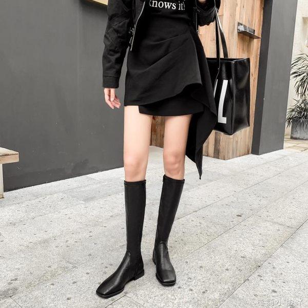 長靴女2019新款靴子不過膝長筒靴皮靴中筒騎士靴平底鞋高筒靴冬季   蘿莉小腳丫