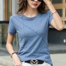 上衣T恤基礎款S-3XL竹節棉t恤女短袖夏季潮純棉寬松韓版簡約上衣純色體恤H412胖妞衣櫥