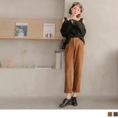 《BA4546》磨毛質感俐落素面反褶直筒褲 OrangeBear