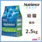 Nutrience紐崔斯『 田園糧 幼貓配方(雞肉)』2.5kg【搭嘴購】