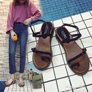 坡跟涼鞋女度假海灘鞋中跟平底羅馬波西米亞...