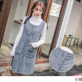 《DA6064-》燈芯絨手感荷葉口袋排釦純色洋裝 OB嚴選