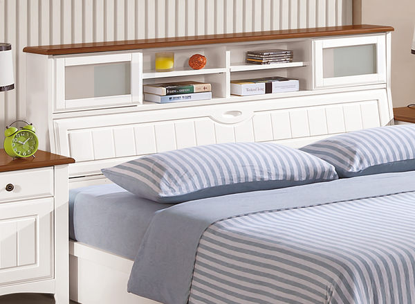 【森可家居】維克多5尺床頭 7ZX171-4 英式鄉村風 白色