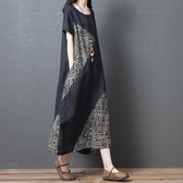 棉麻 民俗風拼接顯瘦洋裝-中大尺碼 獨具衣格 J2651