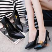 售完即止-高跟鞋歐美10cm尖頭高跟鞋女細跟淺口性感黑色亞光軟面皮鞋單鞋9-5(庫存清出T)