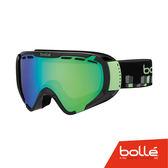 法國 Bolle EXPLORER 青少年款 雙層鏡片設計 防霧雪鏡 亮麗黑立體/翡翠綠 #21351