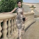 無袖洋裝小禮服 改良旗袍2021年新款素雅復古氣質長款修身開叉無袖夏季高端連身裙