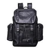 真皮後背包-牛皮大容量電腦包多隔層男雙肩包73xp30[時尚巴黎]