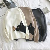 小貓提花針織衫男韓版休閒刺繡魚骨頭圓領毛衣