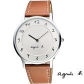 agnes b. 超薄素面數字駝色皮帶錶 39mm VJ20-K240J BJ5006X1 公司貨   名人鐘錶高雄門市
