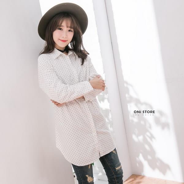 Korea法式簡約點點印花口袋開襟外套襯衫 - ONi STORE - 427202