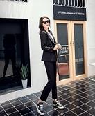 【12H出貨 免運】2021個性韓國時尚寬松女韓版英倫雙口袋裝飾西服西褲白領兩件套裝 妮妮
