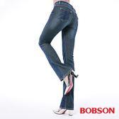 BOBSON 女款低腰異素材小喇叭褲(9098-53)