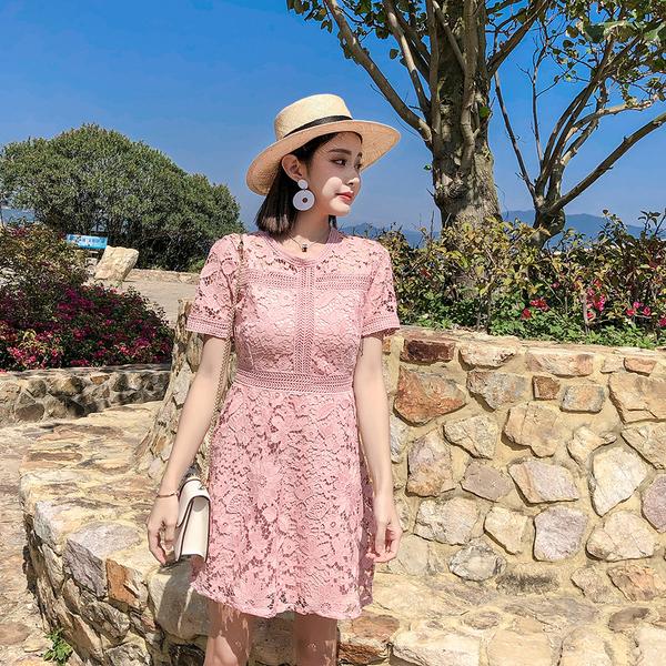 洋裝 蕾絲短袖 婚禮小禮服 韓版 派對 春季連身裙 花漾小姐【預購】