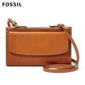 FOSSIL Sage  焦糖色真皮RFID皮夾側背包