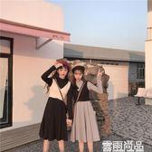 背心裙夏季 早春款 韓風 背心式小高領長袖純色連身裙 閨蜜裝 全館免運