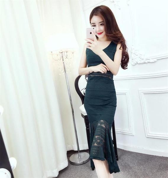 2018夏季新款韓版氣質V領蕾絲無袖修身顯瘦高腰包臀魚尾洋裝女